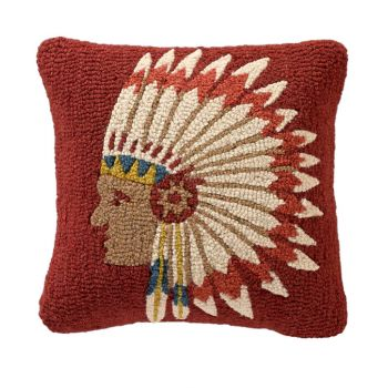 Chief's Concho - Hooked Wool Pillow