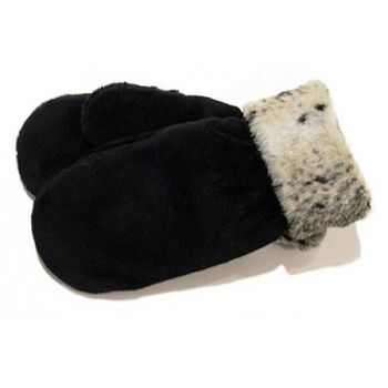 Faux Animal Black Mittens with Cuff