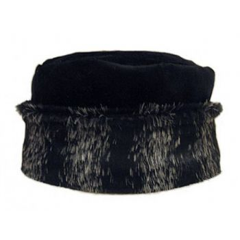 Faux Animal Black Hat with Cuff