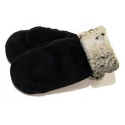 Polar Mitts - Faux Animal Black Mittens with Cuff