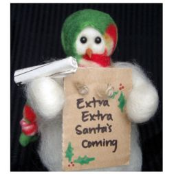 - &quot;Extra! Extra! Santa's Coming&quot; Wooly<sup>&reg;</sup> Primitive Snowman